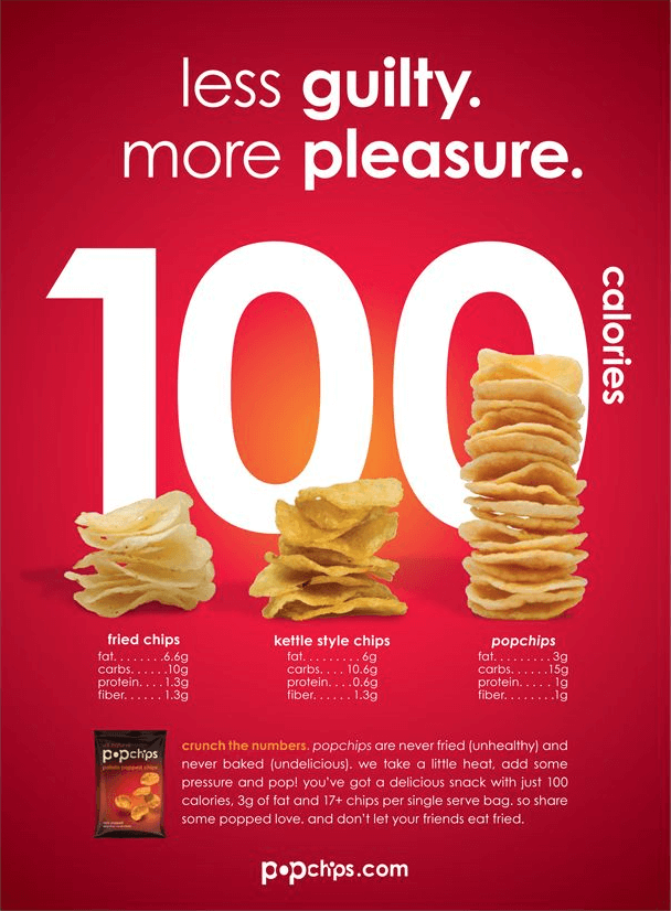 "A popchips ad with the headline ""less guilty. more pleasure"", followed by a large graphic advertising how it's only 100 calories per serving."