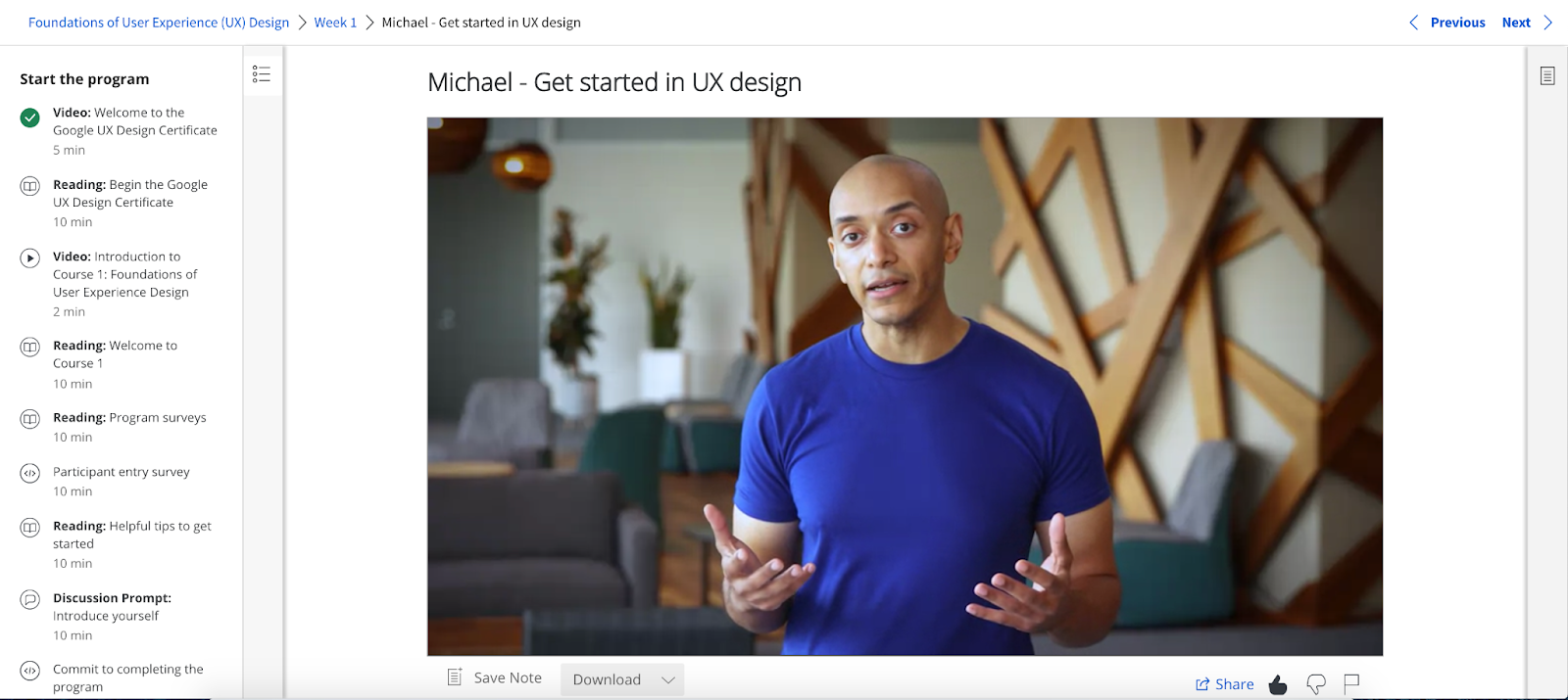 A screenshot from the Getting Started lesson in the Google UX Design Certificate course.