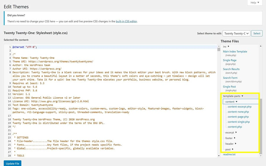 Template parts in the WordPress Theme Editor.