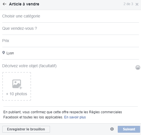 article à vendre marketplace facebook