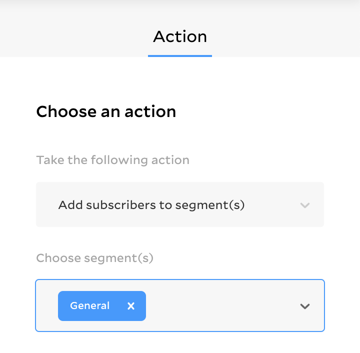 Choose an action to end your workflow. Add a subscriber to a segment, send them an email.