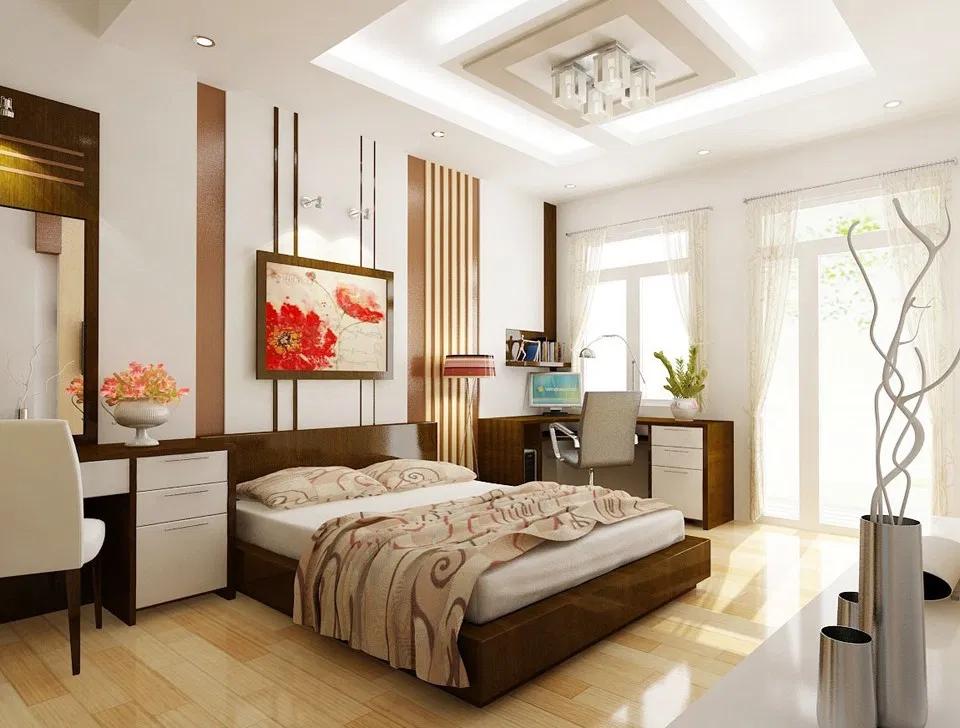 Phòng ngủ nhà chung cư mang hơi hướng hiện đại