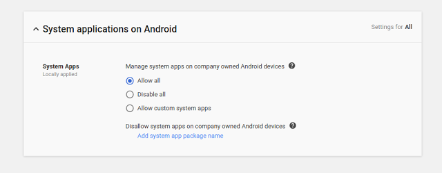 Manage system applications on Android - screenshot of Admin console controls
