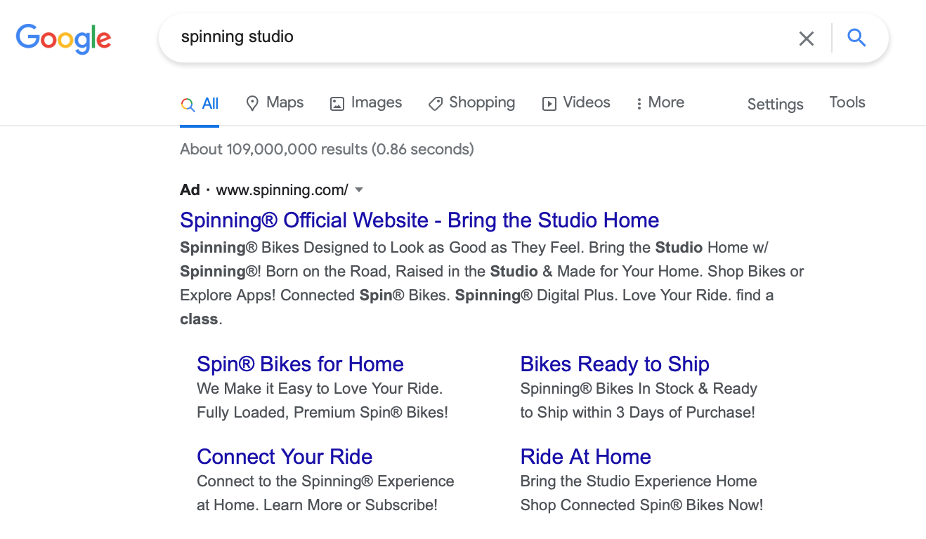 """Google ad showing results for """"spinning studio"""""""