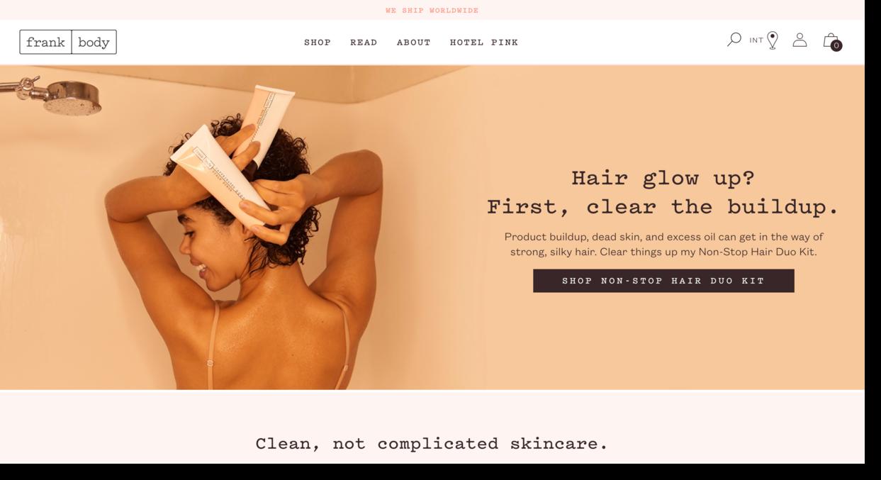 Frank Body website screenshot Australian skincare company