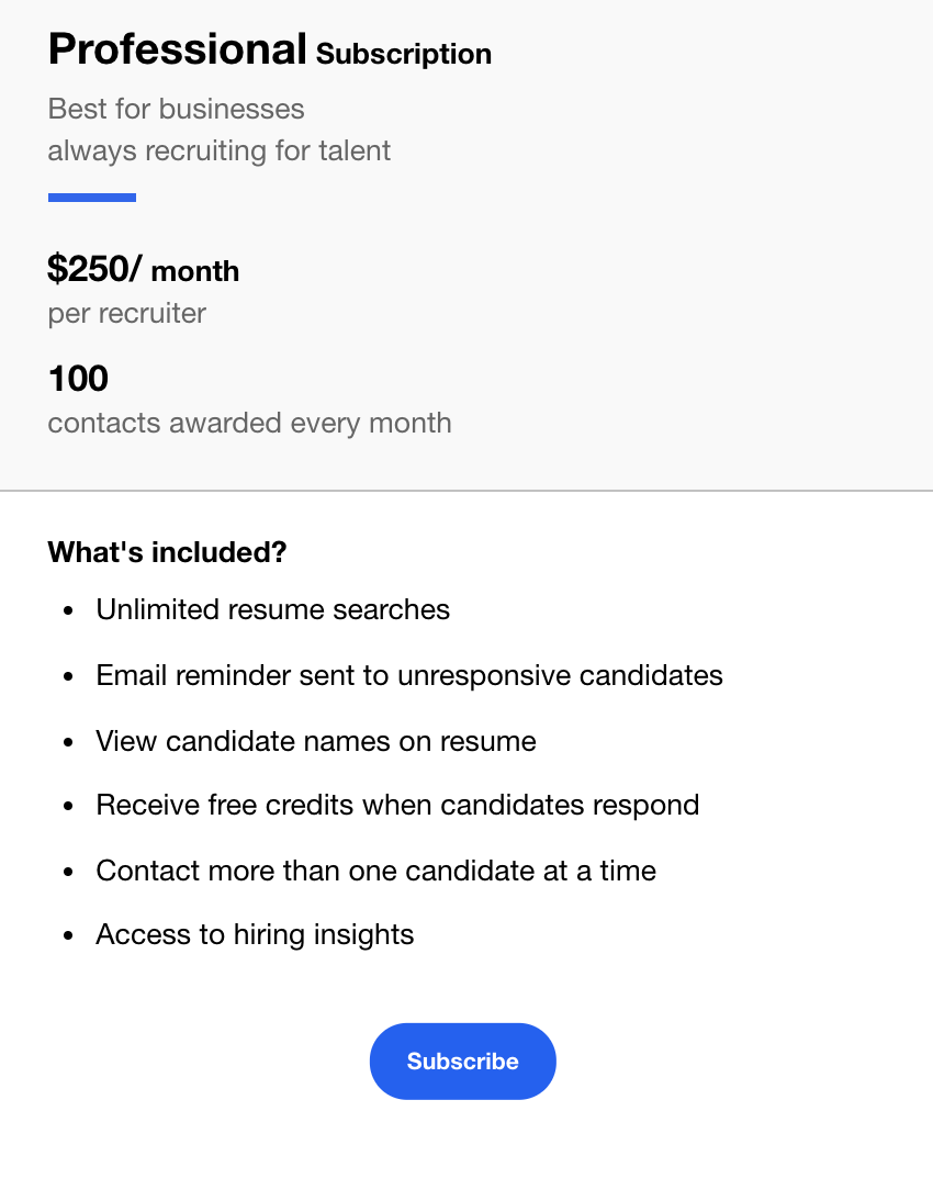 Indeed Resume Pricing