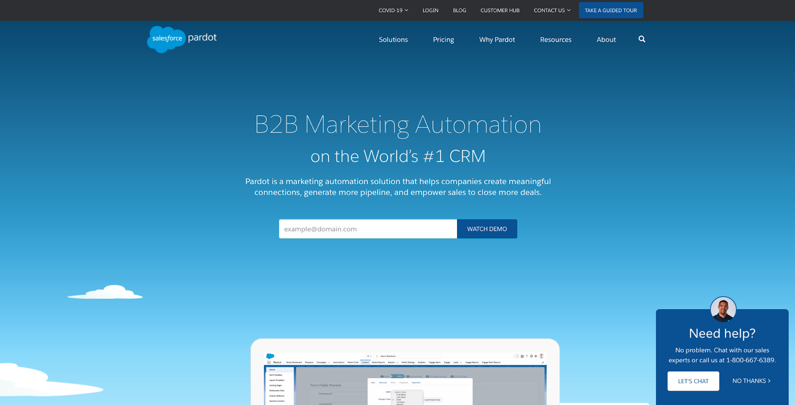 Screenshot of Pardot B2B marketing homescreen