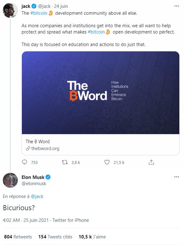 Réponse d'Elon Musk sur Twitter