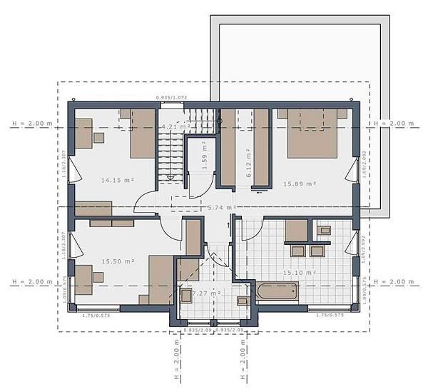 Bản vẽ mặt bằng biệt thự phong cách cổ điển tầng 2