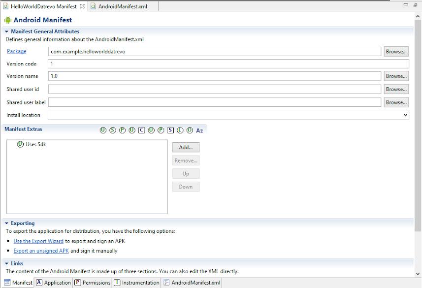 Creazione struttura dell'AndroidManifest.xml
