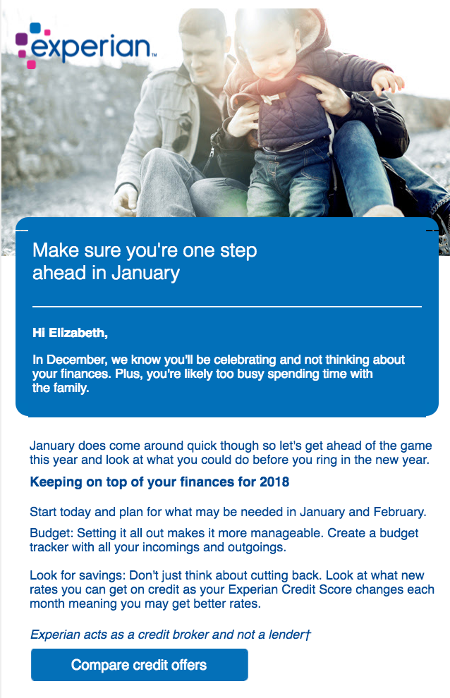 An example of a subscription renewal email from Experian