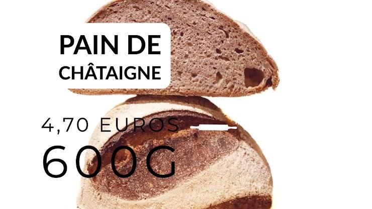 Ingrédients : farine de blé bio T80 et 20% de farine de châtaigne bio d'Ardèche, du levain naturel de seigle, sel de Guérande, eau.