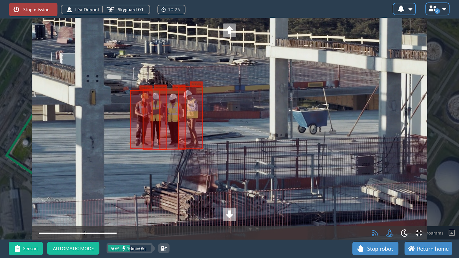 Real-time object detection (workers on a construction site) streamed directly from the drone to UAVIA's web application. All the image processing, drone navigation, and object detection inference are processed in the autonomous drone.