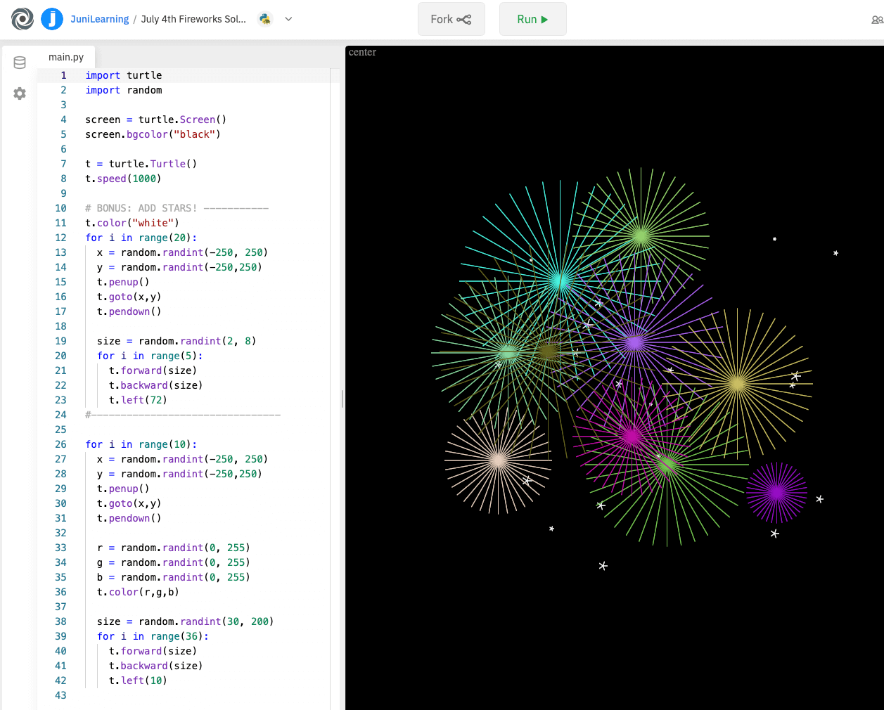 An extended Python turtle coding project with fireworks