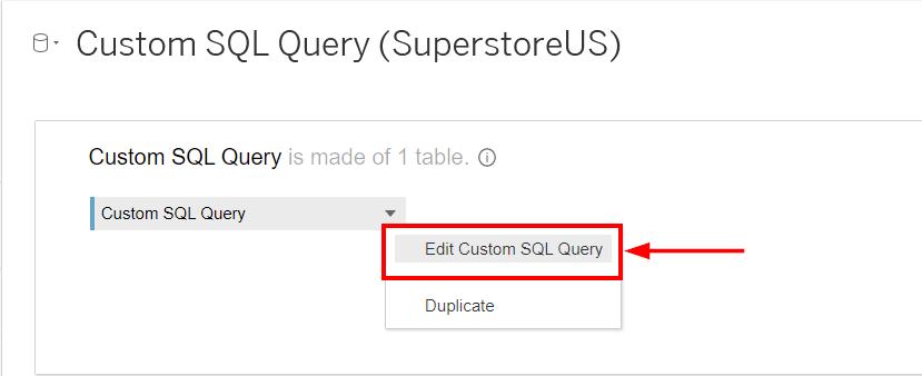Edit Custom SQL Query Button