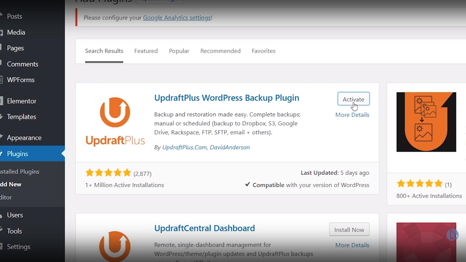 updraft plus wordpress backup plugin activate