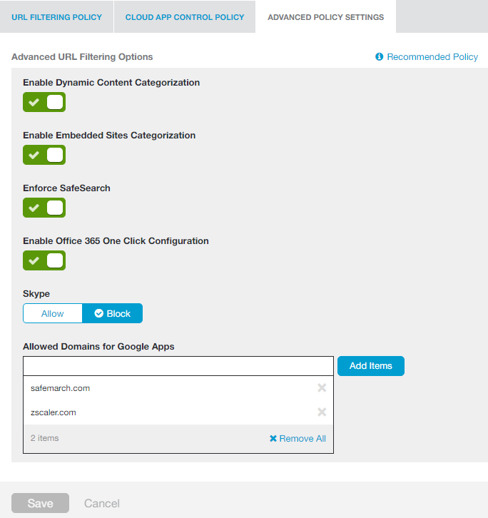 Screenshot of Advanced Policy Settings page showing buttons used to manage Zscaler advanced URL filtering options