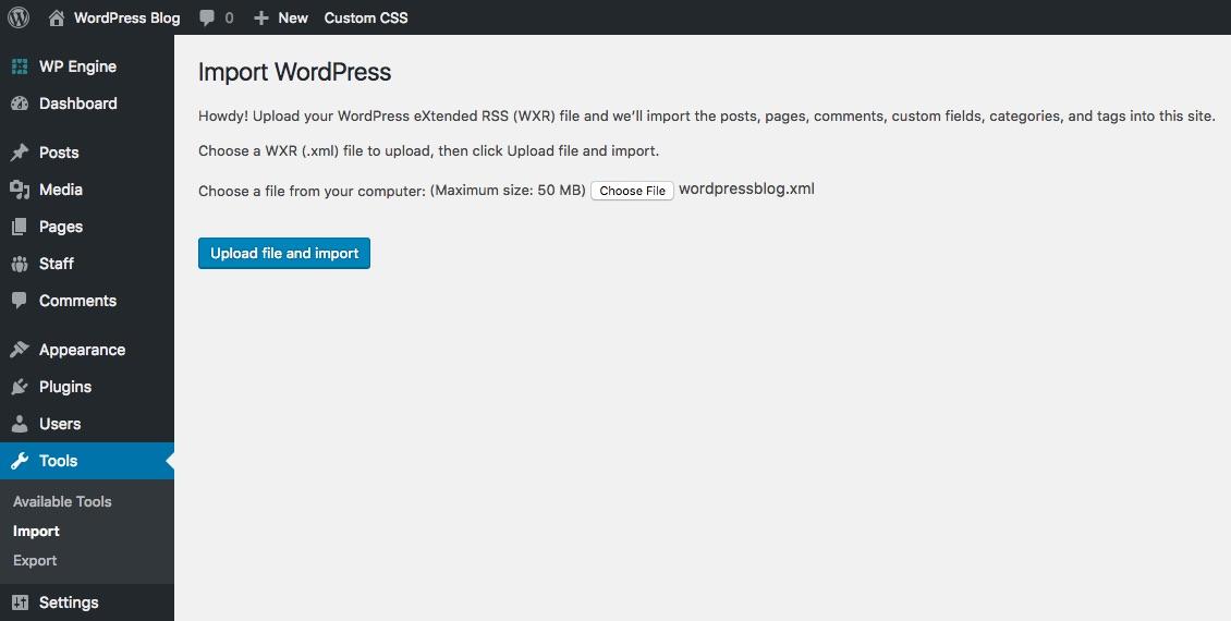 WordPress Chọn tệp XML để nhập