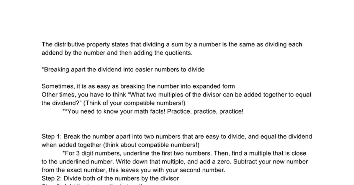 Division Using The Distributive Property Google Docs