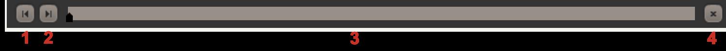 Capture d'écran montrant les commandes de navigation en bas du simulateur. Il existe un bouton flèche gauche, un bouton flèche droite, une barre de défilement et un bouton fermer(x).