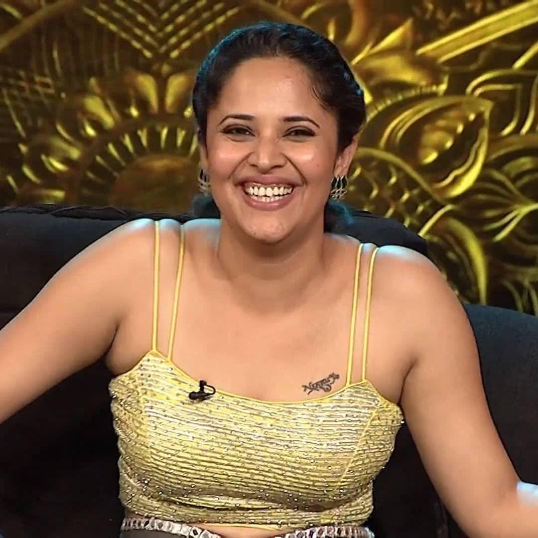 Anasuya Cute smile in Jabardasth Navel Queens