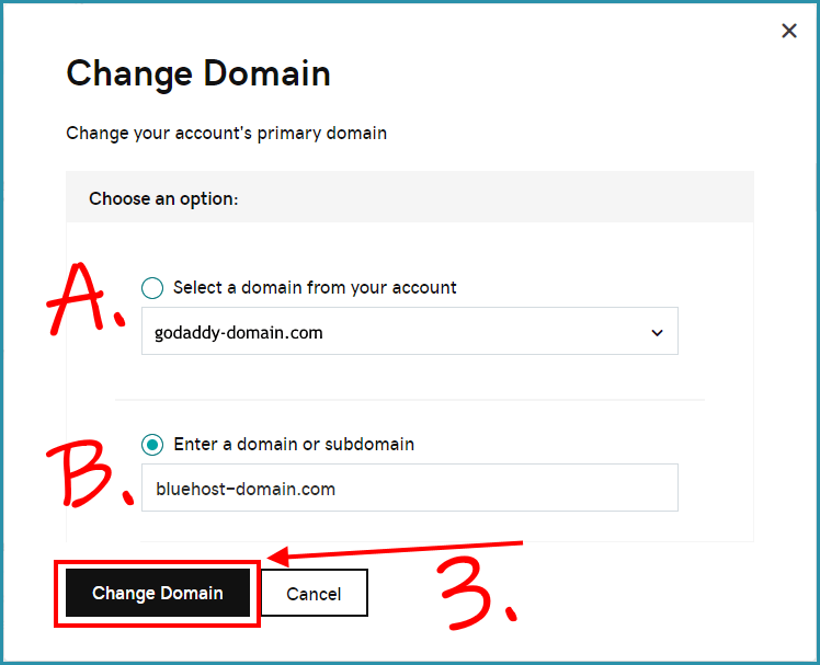 change your primary domain small window