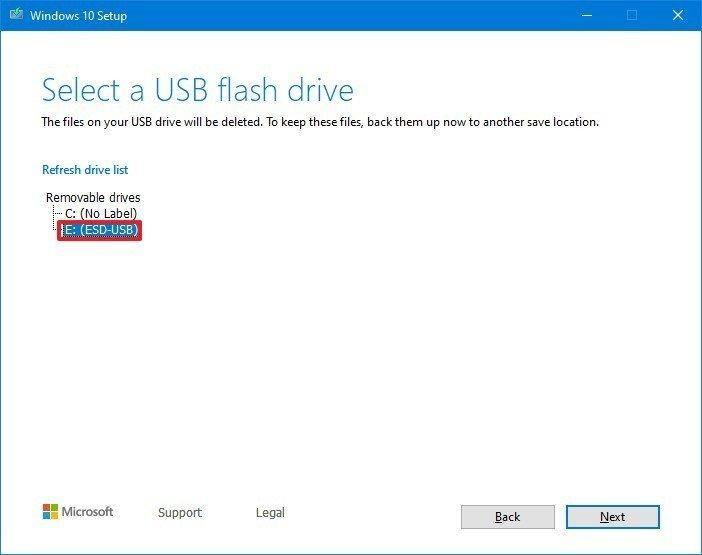 Pilih USB untuk membuat media boot