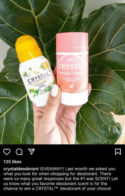 Instagram deodorant giveaway