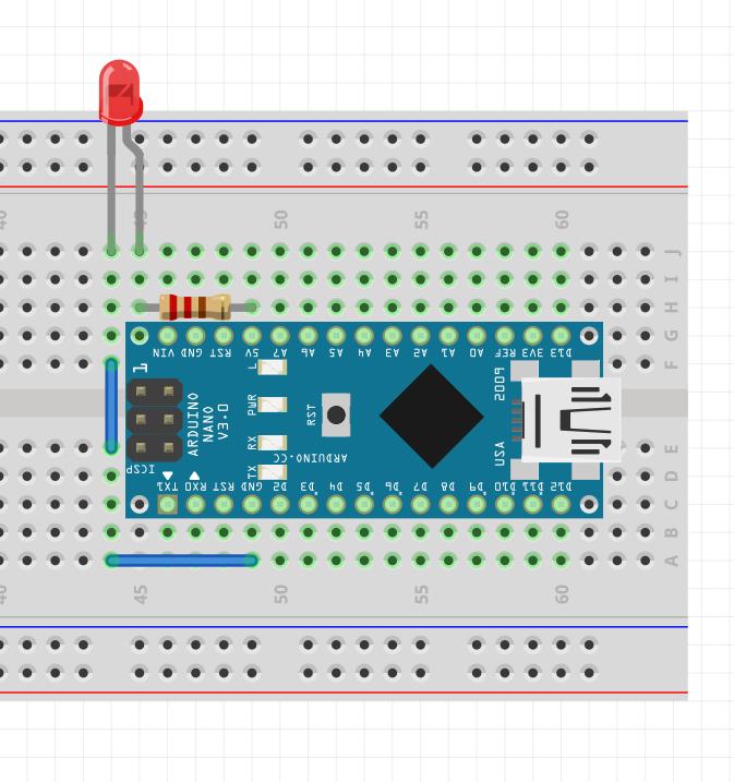 Подключение светодиода к плате Arduino c помощью макетной платы.