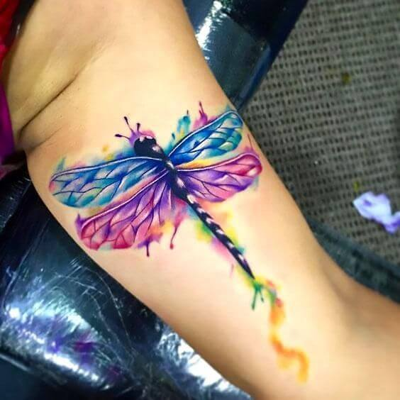 watercolour dragonfly tattoo