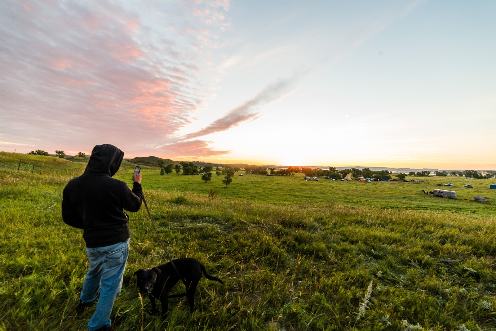 Rez dogs need water too. Security taking a moment to capture the sunrise over the camp. (Photo: Alex Hamer)