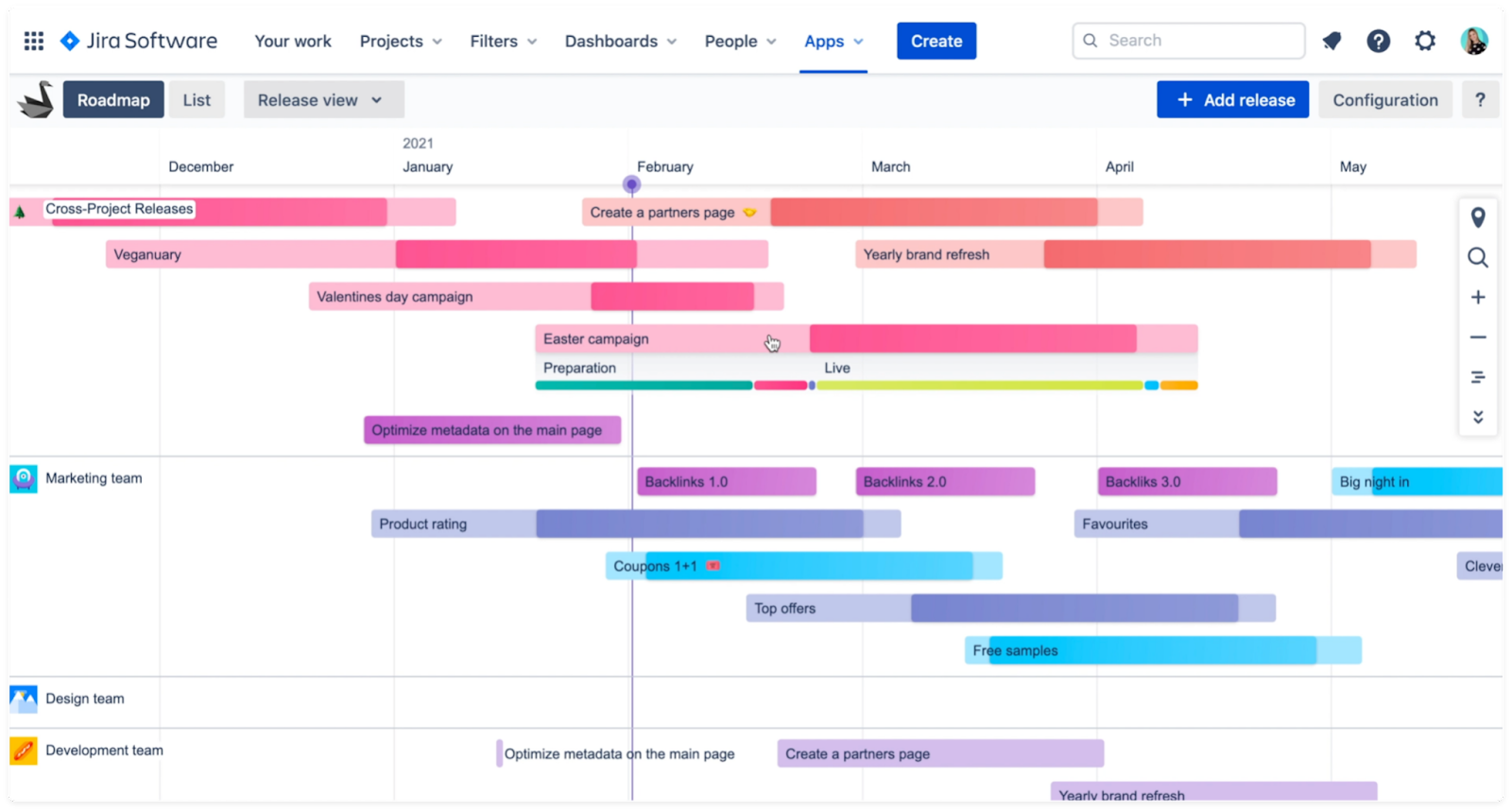 Swanly Jira roadmap timeline with cross-project releases