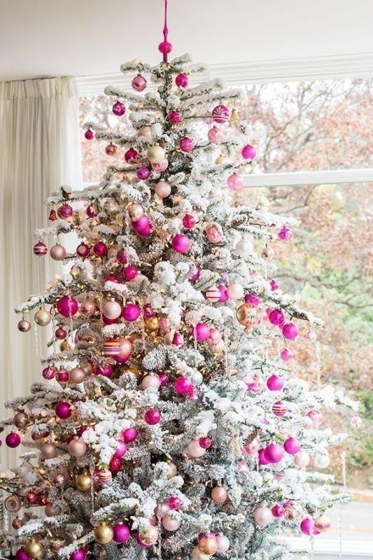 pink - rózaszínű fenyőfa díszek