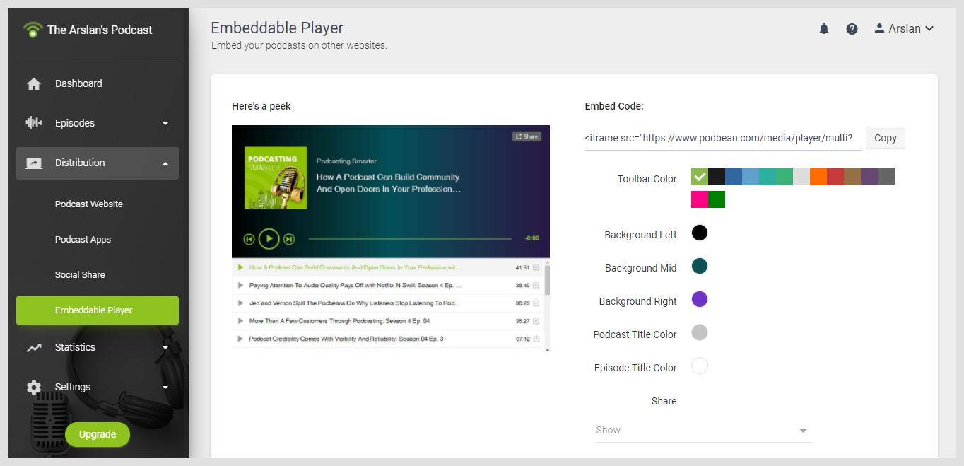 Podbean Embeddable Player
