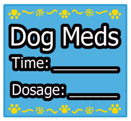 Blue Square Dog Meds Sticker Label with Yellow Border