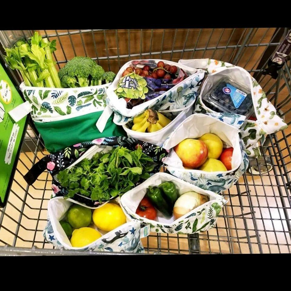 grocery shopping with thirsties reusable bags
