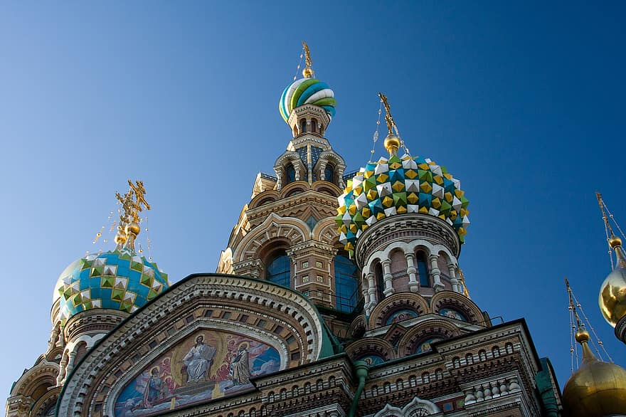 Church domes in Saint Petersburg Russia