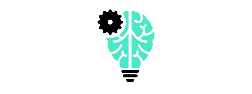 Artificial Intelligence, hersenen in de vorm van een lamp met daarin een tandwiel