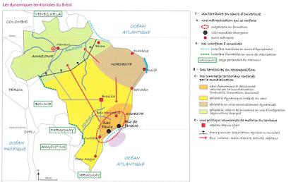 carte les dynamiques territoriales du brésil États Unis Brésil : rôle mondial, dynamiques territoriales