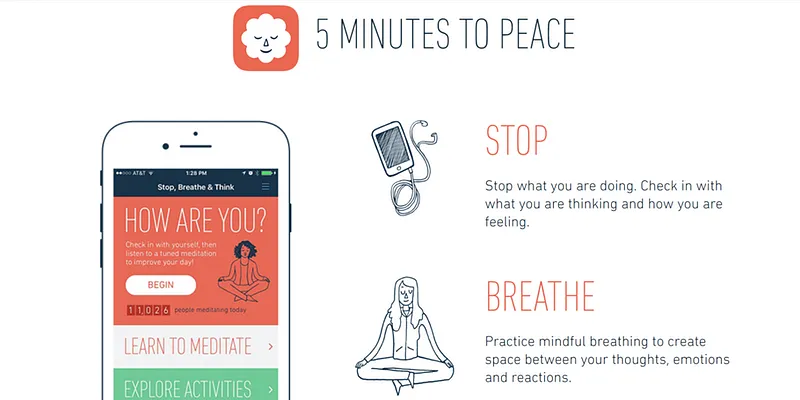 stop, breathe and think - finest meditation apps