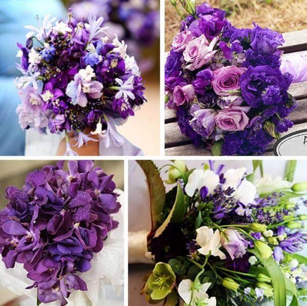 Букеты с фиолетовыми розами