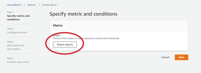 select metric to configure