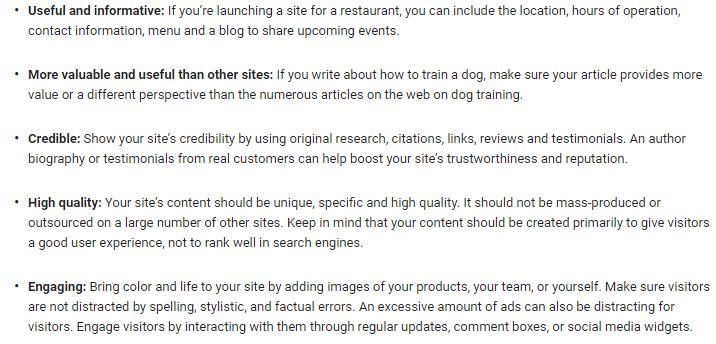 Google篩選篩選網頁的5大準則