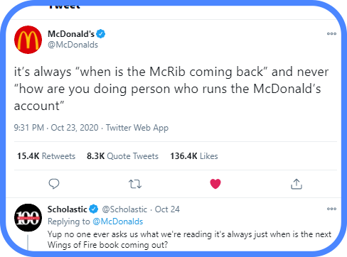 Scholastic replying to McDonalds on Twitter