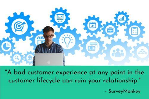 """""""A bad customer experience at any point in the customer lifecycle can ruin your relationship. In addition to making sure the right skills are demonstrated, you need to be sure they're being demonstrated consistently. Pay the most attention to key touchpoints, but make sure you have a full view of the customer experience, or you risk lapses in service that can really hurt business."""" - 6 keys to improving your team's customer service skills, SurveyMonkey"""