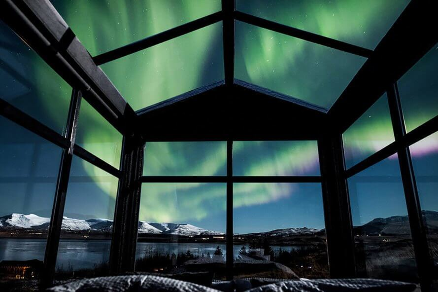 panorama glass lodge, northern lights, iceland, coolest places to stay in iceland