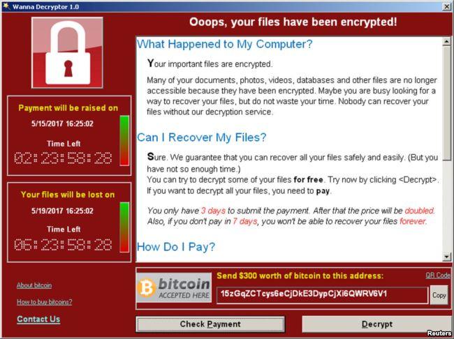 Экран компьютера, зараженного вымогателем WannaCry
