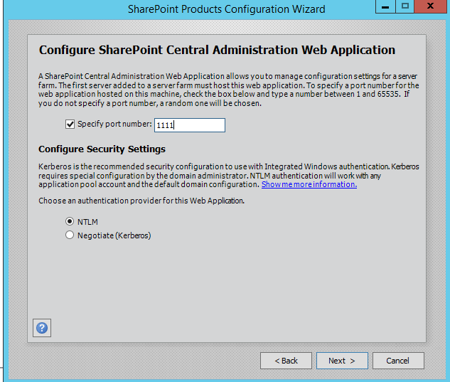SharePoint 2016 Configuration Wizard - Central Administration Settings