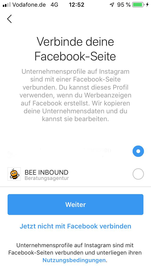 Verbindung Facebook Instagram