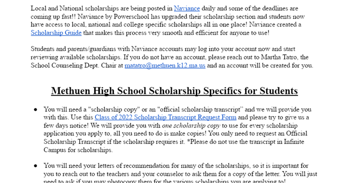 scholarship search and application process help sheet